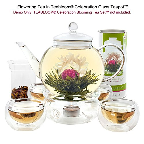 Teabloom Natural Flowering Tea - 12 Unique Varieties of Blooming Tea Balls - Hand-Tied Green Tea & Edible Flowers - 12-Pack Gift Canister - 36 Steeps, Makes 250 Cups by Teabloom (Image #5)
