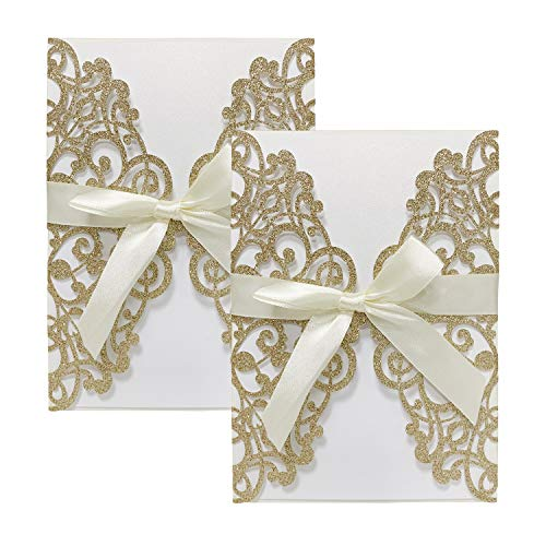 - Gold Fortune 20 Packs Laser Cut Quinceanera Wedding Invitations with RSVP Cards Kit and Envelopes for Baby Shower Party Favors Girl (Glitter Gold)