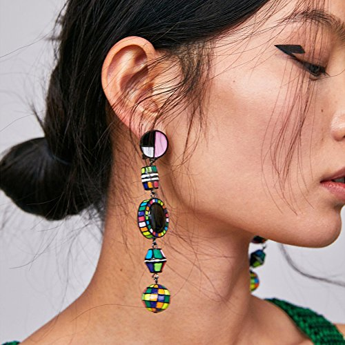 MOOCHI Women Colorful Masaic Geometry Long Drop Hoop Dangle Earrings Colorful