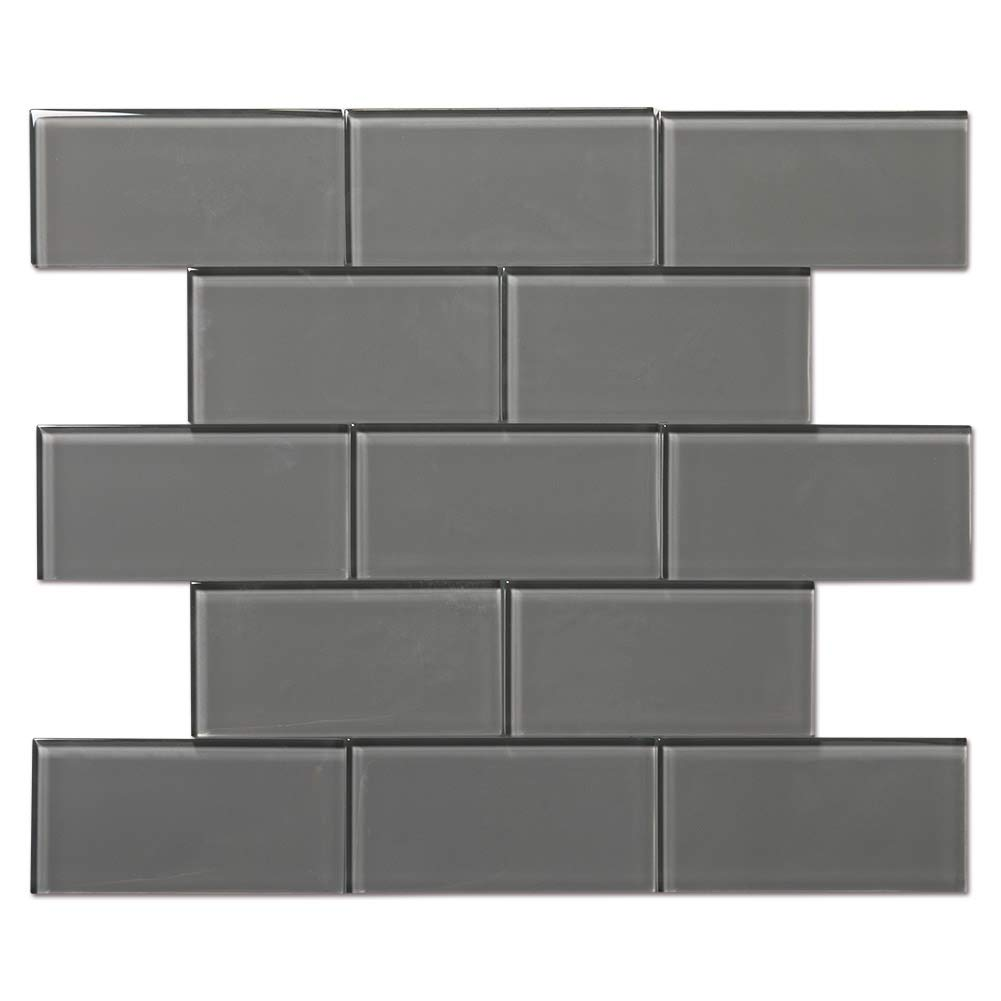Diflart 3x6 Inch Grey Glass Subway Tiles Backsplash for Kitchen Bathroom Pack of 40 by Diflart