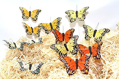 (butterfly artificial made of feather (3.25'' flower mix color))