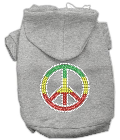 Mirage Pet Products Rasta Peace Sign Hoodie, Size 14, Grey