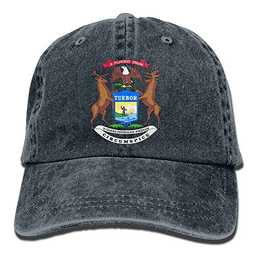 (Michigan State Flag Classic Cotton Dad Hat Adjustable Plain Cap Custom Denim Baseball Cap for)