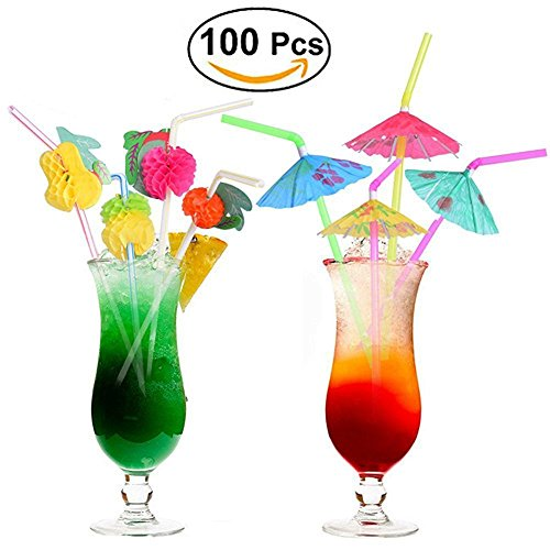 100 pcs Fruit Straws Umbrella Straws Party Disposable Straws Table Decor Tropical Drinks for Cocktail Soft Drinks Hawaiian Luau Party Supply