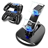 PS4 Controller Charger, YCCTEAM Dual USB Charging Dock Charger Docking Station Stand for Playstation 4 PS4 Controller with LED Indicator, Black