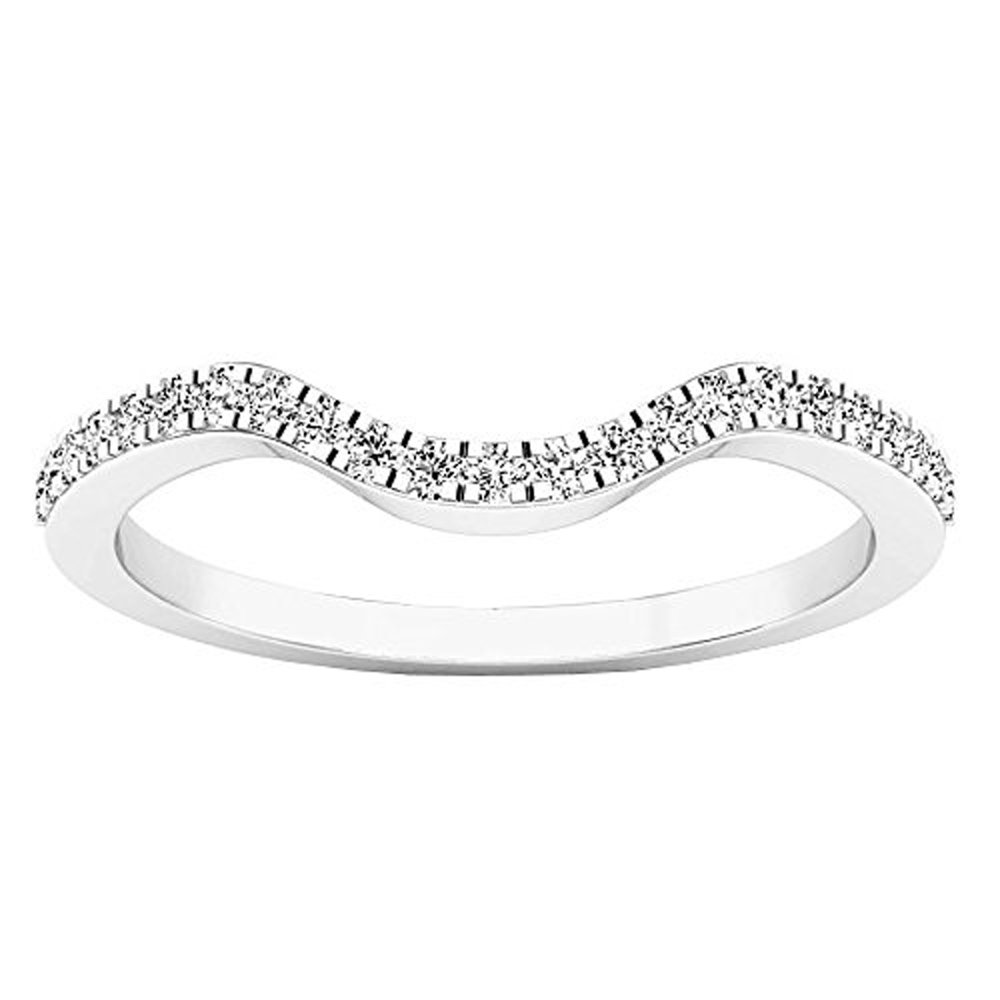 0.15 Carat (ctw) 10K White Gold Round White Diamond Anniversary Ring Wedding Guard Band (Size 7) by DazzlingRock Collection (Image #2)