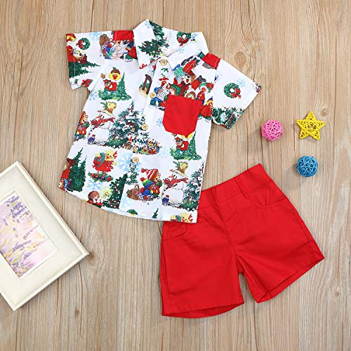 Christmas Outfits Toddler Kids Baby Boy Girl T-Shirt Tops Short Pants Clothes Set Costumes