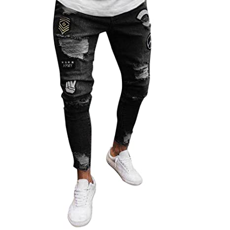 Mens Ripped Holes Jeans Comfort Skinny Distressed Destroyed Slim Fit Denim Pants Fashion Casual Stretch Biker Jeans (S, Black)