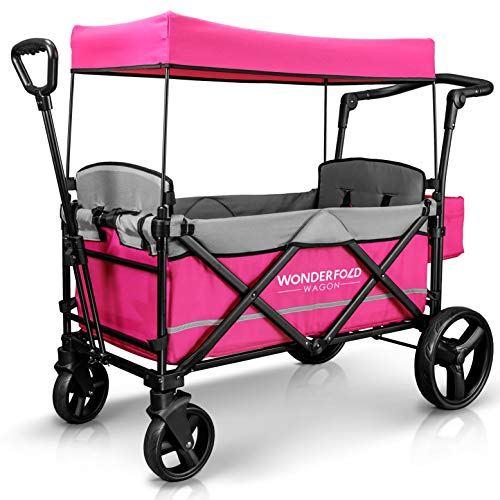 WonderFold Baby XL 2 Passenger Push Pull Twin Double Stroller Wagon with Adjustable Handle Bar, Removable Canopy, Safety Seats with 5-Point Harness, One-Step Foot Brake, Safety Reflective Strip, Pink (Xl Wagon)