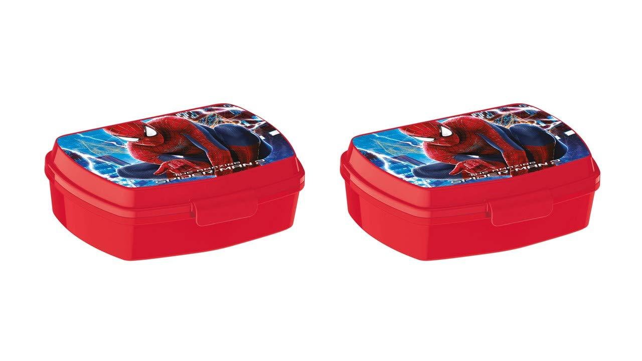 ALMACENESADAN 2298; Pack 2 Sandwicheras Rectangular Spiderman; Dimensiones Interiores 16,5x11,5x5,5 cm; Producto de pl/ástico; No BPA