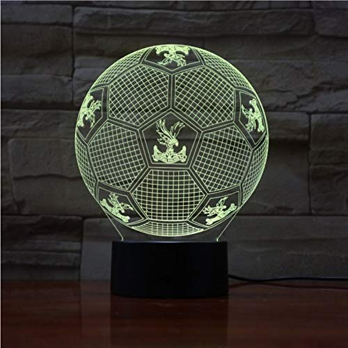 (KUKULE 7 Colorful Gradients Atmosphere Lamp 3D Led Night Light USB Table Bedside Lamp 3D Globe Lamp Crystal Palace F.C)