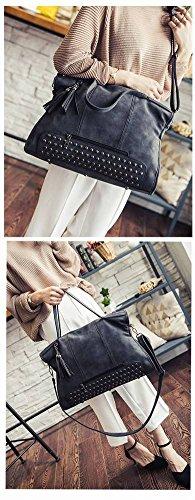 Damen Nieten Fransen Tasche Stil Motorrad Weibliche Hand Schulter Umhängetasche , grau