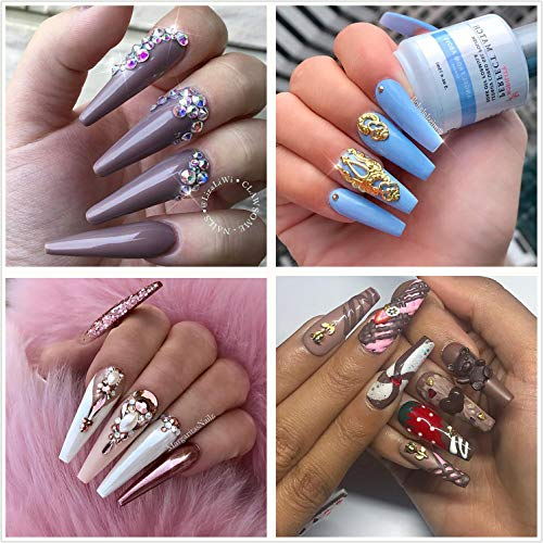 Coffin Nails Long Fake Nails - Clear Acrylic Nails Coffin Shaped Ballerina Nails Tips BTArtfield 500pcs Full Cover False Nail Artificial Nails with Case for Nail Salons and DIY Nail Art, 10 Sizes