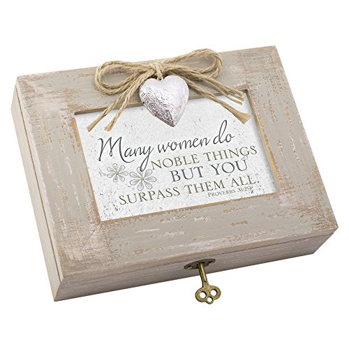 Church Keepsake - Cottage Garden Many Women Do Noble Things Natural Taupe Jewelry Music Box Plays Amazing Grace