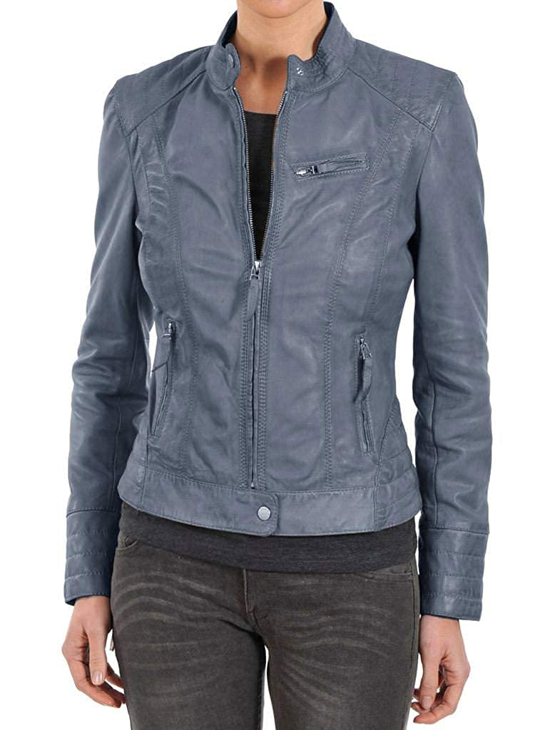 Womens Stylish Lambskin Genuine Leather Jacket WJ246