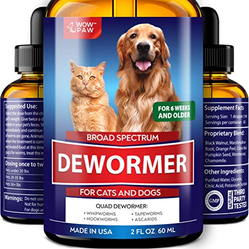 WOWPAW DEW0RMER for Dogs & Cats (2 OZ) - Made in USA - Wоrm Treatment for Pets - Natural Powerful Blend Against Whipworm, Hookwоrm, Roundwоrm & Tapewоrm - Senior Pets, Kitten & Puppy Dewоrmer (Best Worming Treatment For Cats)