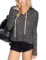 YesFashion Womens' Knitted Hoodie Loose Pullover