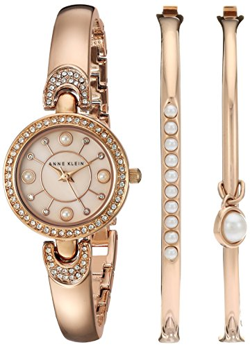 Anne Klein Women's AK/2260RGST Swarovski Crystal Accented Rose Gold-Tone Watch and Bangle Set