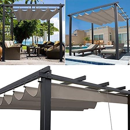 IDMarket Pergola tejado retráctil Topo 3 X 3 M cenador 4 patas: Amazon.es: Jardín
