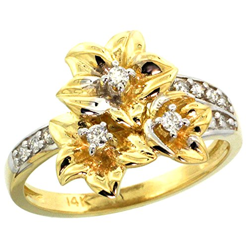 - 14k Yellow Gold Triple Plumeria Flower Ring with Diamond 0.27cttw, 5/8 inch wide, size 10