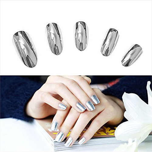 Hot Nail Art! AMA Mirror Effect Chrome Silver Nail Glitter P