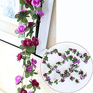 Rose Garland,3 Pcs Artificial Flowers Roses,Silk Hanging Plants Green Vintage Vine for Home Decor Wedding Orchids Arrangements Outside Office Birthday Party Garden Craft Art (Purple) 5