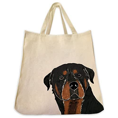 Rottweiler Dog Portrait Color De Extra Large Eco Friendly Reusable Cotton Twill Grocery Shopping Tote Bag