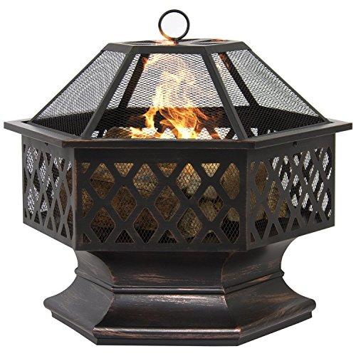Cheap  NEW Bronze,Hex Shaped Fire Pit Outdoor Home Garden Backyard Firepit Bowl Fireplace..