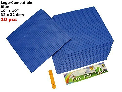 - Lego-Compatible Brick Building Base 10'' x 10'' (10 Pack) Blue Baseplate with a Brick Separator- by Fun For Life