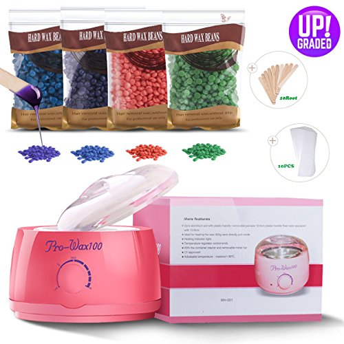 Wax Warmer Professional Electric At Home Waxing Kit for Hair Removal with 4 Flavors Hard Wax Beans and 10 Wax Applicator Sticks