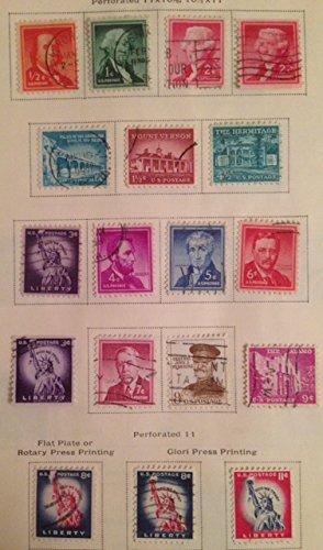 (1954 Liberty series 16 MINT stamps Franklin Washington Jefferson Lincoln Monroe Statue of Liberty Alamo)