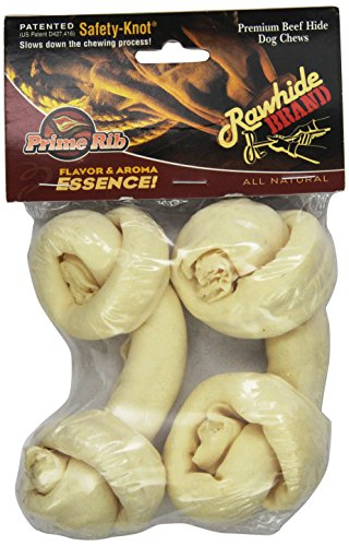 Rawhide Brand 4-Inch Prime Rib Essence Safety-Knot Bone, 2-Pack, Shrink/Hdr