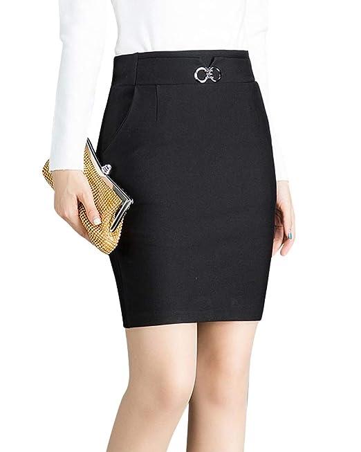 Quge Faldas Tubo para Mujer Lápiz Oficina Plain Jersey Bodycon Midi Falda   Amazon.es  Ropa y accesorios 69628ebdea7c