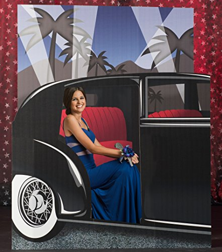 4 ft. Vintage Hollywood Movie Star Car Photo Backdrop Standup Photo Booth Prop Background Backdrop Party Decoration Decor Scene Setter Cardboard Cutout