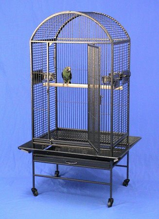Lihue Landing Dometop Bird Cage with Stand – 28″ X 20″ X 60″ – Black Vein, My Pet Supplies