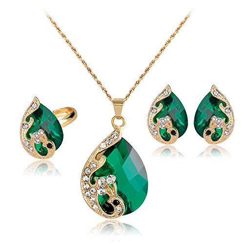 SDLM Swarovski Elements Crystal Jewelry Set include Pendant Necklace and Stud Earrings for Womens Gift,green