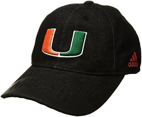 Miami Adult Hat (NCAA Miami Hurricanes Adult Men Player Heathered Slouch Hat, One Size, Black)