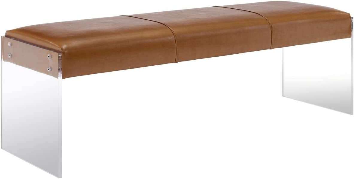 Tov Furniture Envy Leather Acrylic Bench, Brown