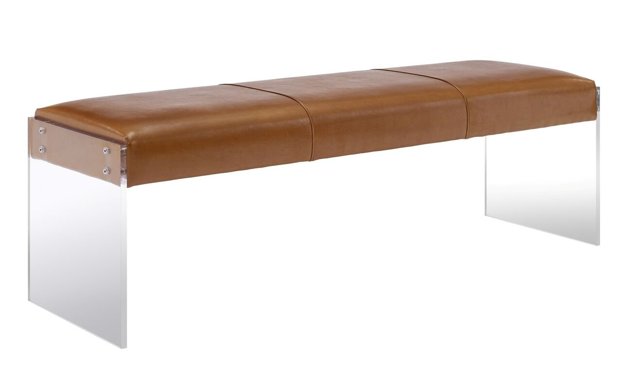 Tov Furniture Envy Leather/Acrylic Bench, Brown
