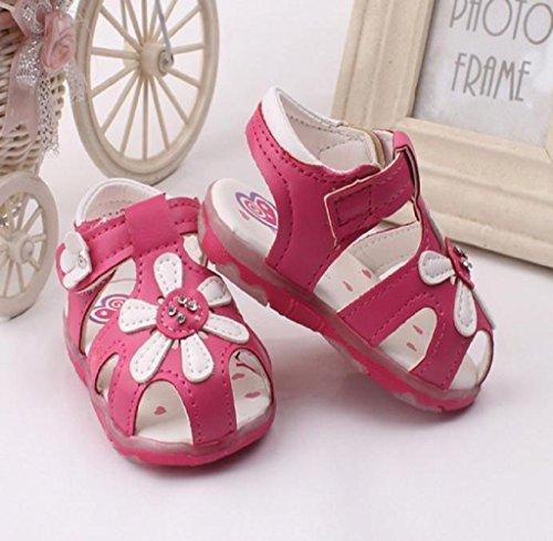 Zapatos de bebé,Tongshi Sandalias de niñas girasol nuevo niño iluminado zapatos de princesa con suela suave rosa caliente