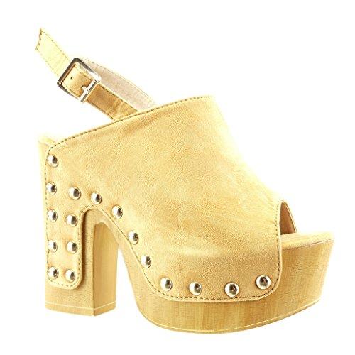 Angkorly cm Chaussure Talon 12 Plateforme Sandale Haut 5 Bois Mode Camel Clouté Sabot Femme Bloc rrOATq