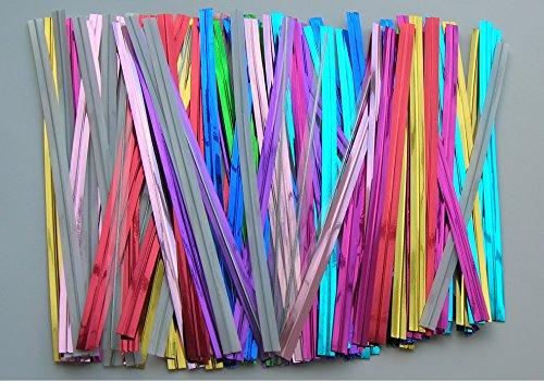 1500pcs 4″ (15 Colors) Metallic Twist Tie for Cake Pop Lollipop Candy Cello Bags, Appliances for Home