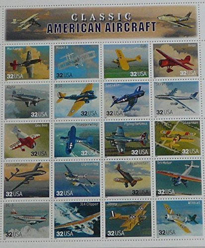 1997-classic-american-aircraft-sheet-of-twenty-stamps-scott-3142-by-usps