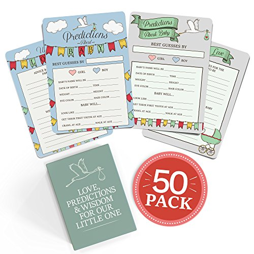 Baby Shower Advice + Prediction Cards (50 Pack). Keepsake & Game for New Mom + Dad. Fun for Parents. Wishes + Wisdom for Mommy + Daddy to Be. Boy or Girl Babies. Gender Neutral (Stork)