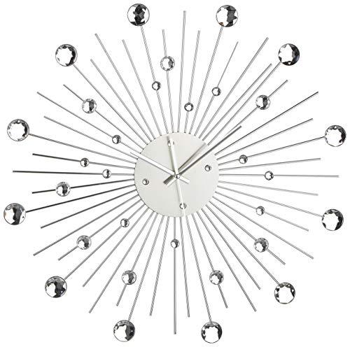 Orologio da Parete in Metallo Stella di Cristallo Decorazione Casa 50 cm,  Colore Argento, plastica