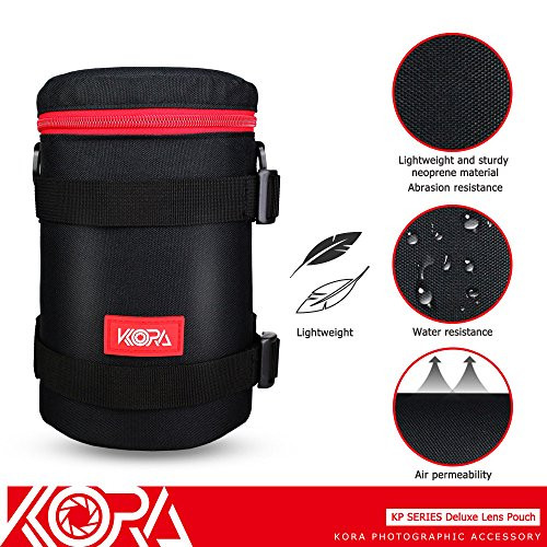 Kora KP-L Deluxe Lens Pouch Bag Case 113mm x 215mm For JBL Charge 2+ Splashproof Bluetooth Speaker W/ Charger Canon ZOOM LENS EF 28-300mm Nikon AF-S NIKKOR 70-200mm Lens