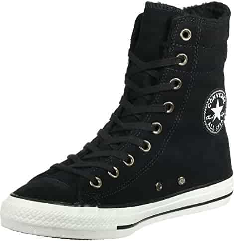 b756c64bc63926 Converse Chuck Taylor All Star Hi Rise Black Egret Suede Sneakers 553420C  Women Boot Shoes