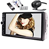 EinCar 7'' Double DIN Capacitive Touchscreen In Dash Bluetooth Car Stereo MP5 Audio Video Player FM Radio/TF/USB/AUX-in/SWC/Colorful Button Back Light with Rear View Camera/Remote Control