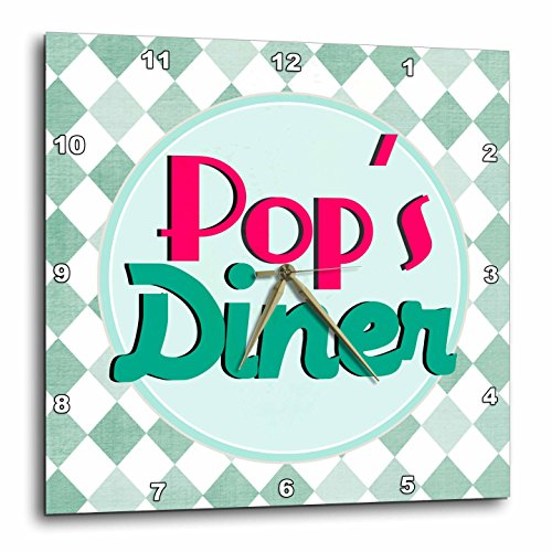 3dRose dpp_151673_3 Pops Diner on Aqua-Retro Hot Pink Turquoise Teal Blue 1950S 50S Fifties Dad Kitchen. Fathers Day Wall Clock, 15 by 15-Inch 518rskHv97L