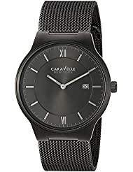 Caravelle New York Mens Quartz Stainless Steel Casual Watch, Color:Grey (Model: 45B140)